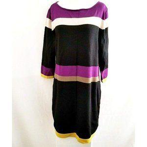 Nine West 3/4 Sleeve Striped Knit Sweater Dress